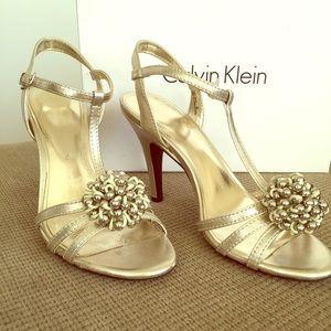 Calvin Klein Metallic Gold Strappy Sandals